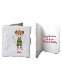 Personalised Christmas Pixie Bone China Message Card