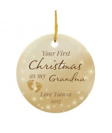 Personalised '1st Christmas As My .....' Ceramic Decoration