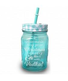 Personalised Christmas Vodka Blue Mason Jar