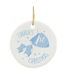 Personalised '1st Christmas' Round Ceramic Decoration