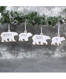 Set of 4 Polar Bear Family Wooden Decorations