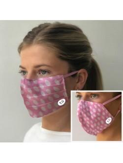 Set of Two Pink Polker Dot Facemasks