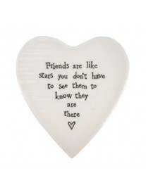 East of India Porcelain Round Heart Friends Are Like Stars (FREE POSTAGE)