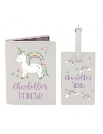 Personalised Baby Unicorn Passport Holder Set