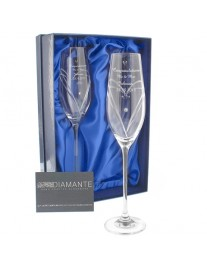 Hand Cut Little Hearts Pair of Flutes with Swarovski Elements with Gift Box