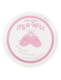Personalised Bootee it's A Girl China Plate