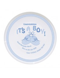 Personalised Bootee It's A Boy China Plate