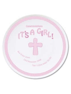 Personalised Cross It's A Girl China Plate
