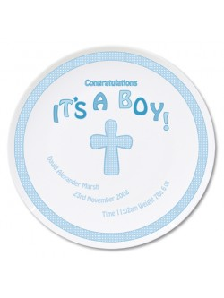 Personalised Cross It's a Boy China Plate