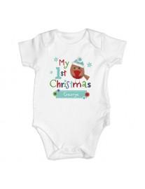Felt Stitch Robin 'My 1st Baby Christmas' Baby Vest