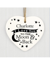 Personalised To the Moon and Back Ceramic Heart