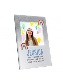 Rainbow Glitter Glass Photo Frame
