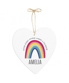 Personalised Rainbow Large Wooden Heart