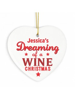 Dreaming of a Wine Christmas Ceramic Heart