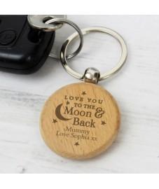 Personalised Moon and Back Keyring