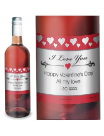 Hearts I Love You Personalised Rose Wine