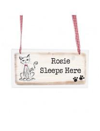 Scribble Cat Wooden Sign