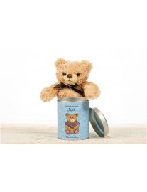 Personalised Christening Teddy in a Tin for Boys