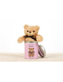 Personalised Christening Teddy in a Tin for Girls