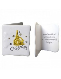 Personalised Christening Bone China Message Card