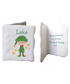 Personalised Christmas Elf Bone China Message Card