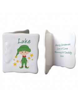 Personalised Christmas Elf Bone China Message Card