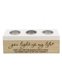 Personalised 'You Light Up My Life' Triple Tealight Holder